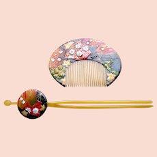 Vintage Japanese hair comb hair pin set kanzashi geisha hair accessories (AGG)