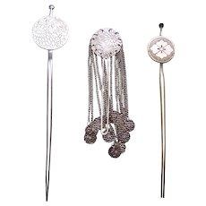 3 Vintage Japanese metal hair pins kanzashi geisha hair accessories (AGW)