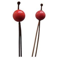 2 Vintage Japanese ball topped hair pins kanzashi geisha hair accessories (AGY)