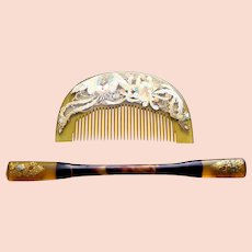 Vintage Japanese hair comb hair pin kanzashi geisha set (AHE)