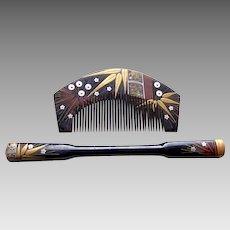 Vintage Japanese hair comb hair pin kanzashi geisha set (AHI)