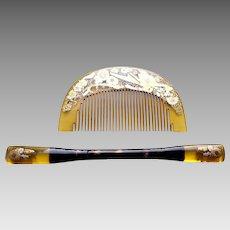 Vintage Japanese geisha hair comb hair pin set kanzashi (AHK)