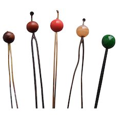 Five vintage Japanese ball topped hair pins (AHX)