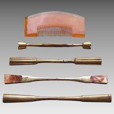 5 Vintage Japanese geisha hair combs and hair pins (AHT)