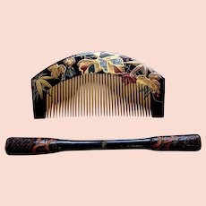 Vintage wooden Japanese decorative hair comb and hair pin (AHO)