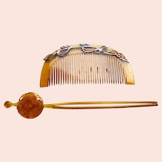 Vintage resin Japanese decorative hair comb and hair pin (AHP)