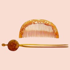 Vintage resin Japanese decorative hair comb and hair pin (AHQ)