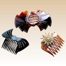Three 1980s faux tortoiseshell hair combs hair accessories