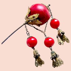 Victorian Algerian style hair pin with faux coral dangles and chains