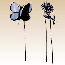 Two Victorian French jet mourning hair pins flower and butterfly