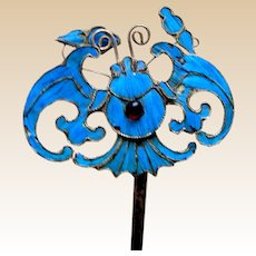 Chinese kingfisher feather hair pin or hair accessory