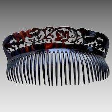 Art Deco hair comb faux tortoiseshell back comb hair ornament