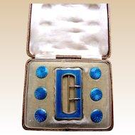 Boxed Art Nouveau sterling silver belt buckle and button set blue enamel