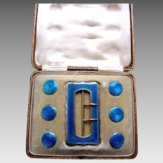 Boxed Art Nouveau sterling silver belt buckle and button set blue enamel
