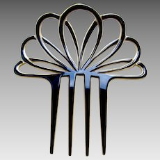 Classic Art Deco hair comb fan shape black and white hair accessory