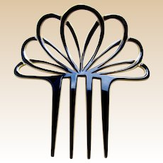 Classic Art Deco hair comb fan shape black and white hair accessory