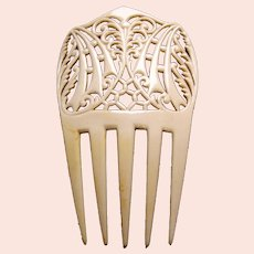 Art Deco French ivory hair comb with interlaced design hair accessory