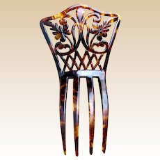 Late Victorian hair comb faux tortoiseshell effect with flowers