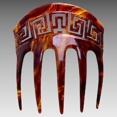 Victorian faux tortoiseshell hair comb with Greek key design hair accessory