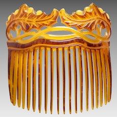 Leaves design hair comb Victorian faux tortoiseshell hair accessory