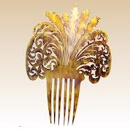 Early Americana hair comb clarified steer horn mantilla style hair accessory (AAB)