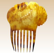 Early Americana hair comb clarified steer horn mantilla style hair accessory (AAD)