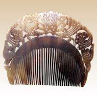 Indonesian buffalo horn hair comb finely carved hair accessory