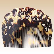Indonesian natural tortoiseshell hair comb finely carved hair accessory