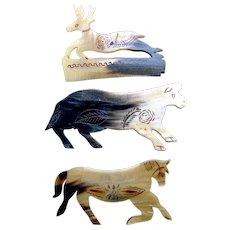 3 Handmade steer horn Mexican hair combs figural animals vanity combs