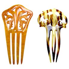 Two celluloid faux tortoiseshell Spanish style hair combs