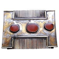 Ethnic Turkmenistan vanity or dressing comb with carnelians