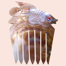 Carved mother of pearl hair comb figural fish from Thailand