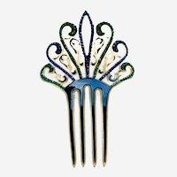 Blue green rhinestone hair comb sunray design Art Deco hair accessory