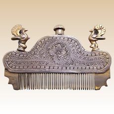 Vintage Indian perfume hair comb silver tone metal with peacocks