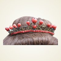 Regency tiara fire gilded brass with carved faux coral beads