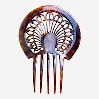 Art Deco faux tortoiseshell hair comb sunray design hair accessory
