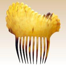 Early Americana hair comb clarified steer horn mantilla style hair accessory (AAA)