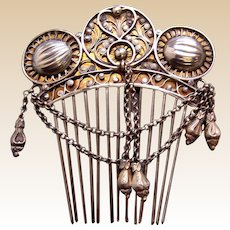 Silver Moorish style hair comb with chains and dangles hair accessory