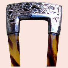 Art Nouveau hair comb engraved 800 silver mounted hair ornament