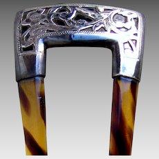 Art Nouveau hair comb engraved silver mounted hair ornament