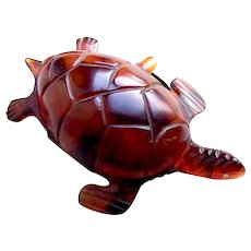 Faux tortoiseshell trinket or pin box tortoise or turtle