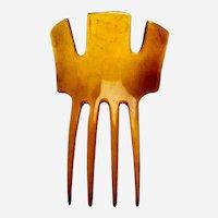 Clarified steer horn hair comb Victorian Spanish style hair accessory