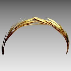 Vintage tiara goldtone metal laurel wreath headpiece