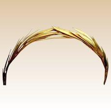 Vintage tiara goldtone metal laurel wreath headpiece