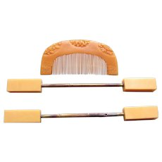 Vintage Japanese hair comb and hair pin geisha set (AHU)