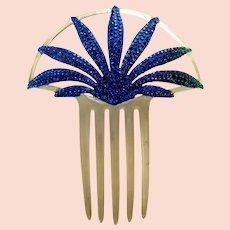 Blue rhinestone hair comb sunray design Art Deco hair accessory