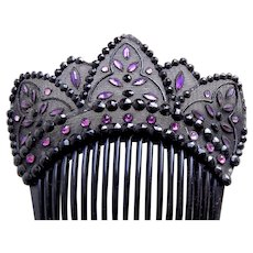 Victorian French Jet hair comb mourning hair accessory