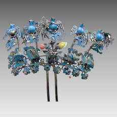 Chinese kingfisher heather hair comb trembler birds hair accessory
