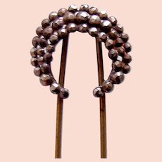 Crescent shaped hair pin in cut steel hair accessory