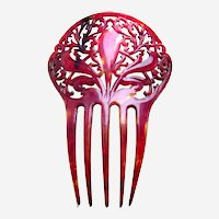 Victorian deep red colour hair comb Spanish style hair accessory